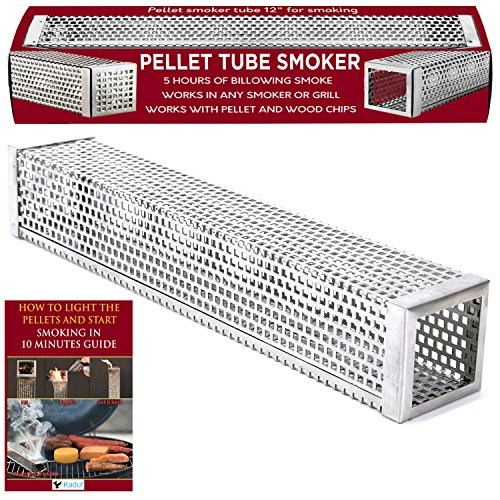 """Kaduf Pellet Tube Smoker 12"""" For Any Grill or Smoker - Up To 5 Hours Cold or Hot Smoking For Tasty Smoke Flavor Food - Works With Pellets and Wood Chips – Safe, Durable, No-Roll, Easy To Use"""
