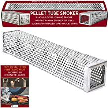 "Kaduf Pellet Tube Smoker 12"" For Any Grill or Smoker - Up To 5 Hours Cold or Hot Smoking For Tasty Smoke Flavor Food - Works With Pellets and Wood Chips – Safe, Durable, No-Roll, Easy To Use"