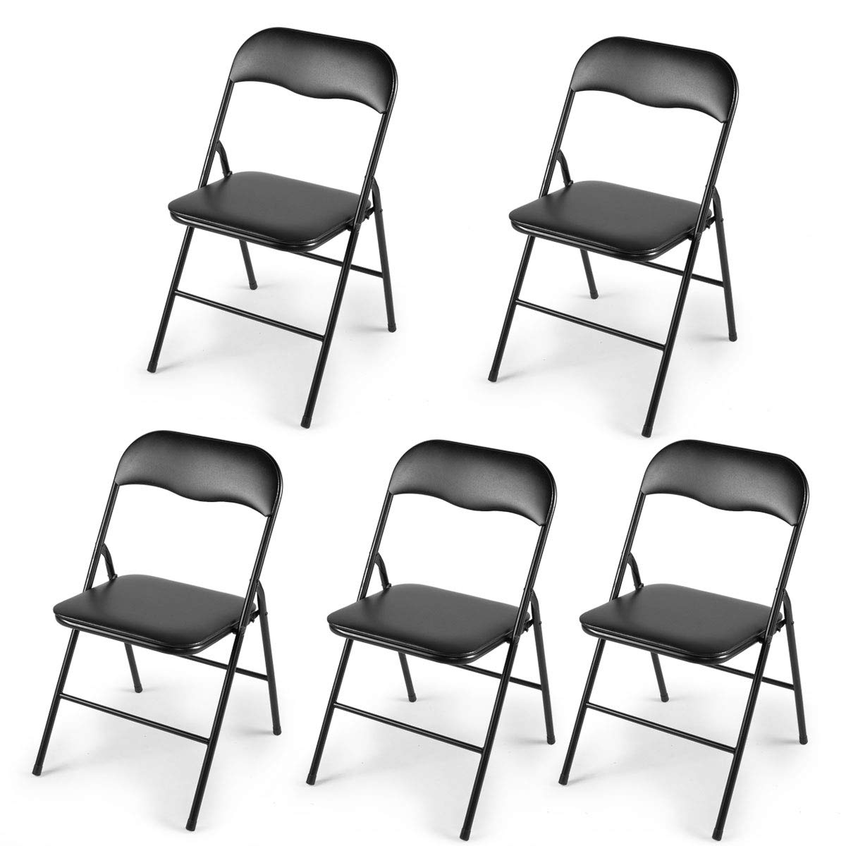5-Pack Plastic Folding Chairs Wedding Banquet Seat Premium Party Event Chair Black