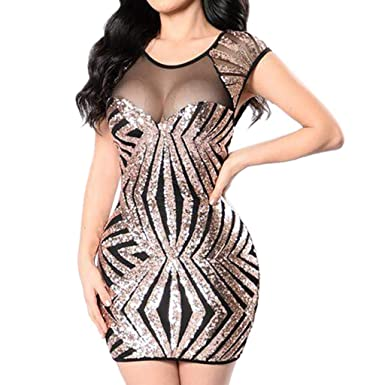 e16ace12d53 Dainzuy Dress for Women Sexy Plus Size Sequins Sleeveless Perspective  Casual Party Mini Bodycon Dress at Amazon Women s Clothing store