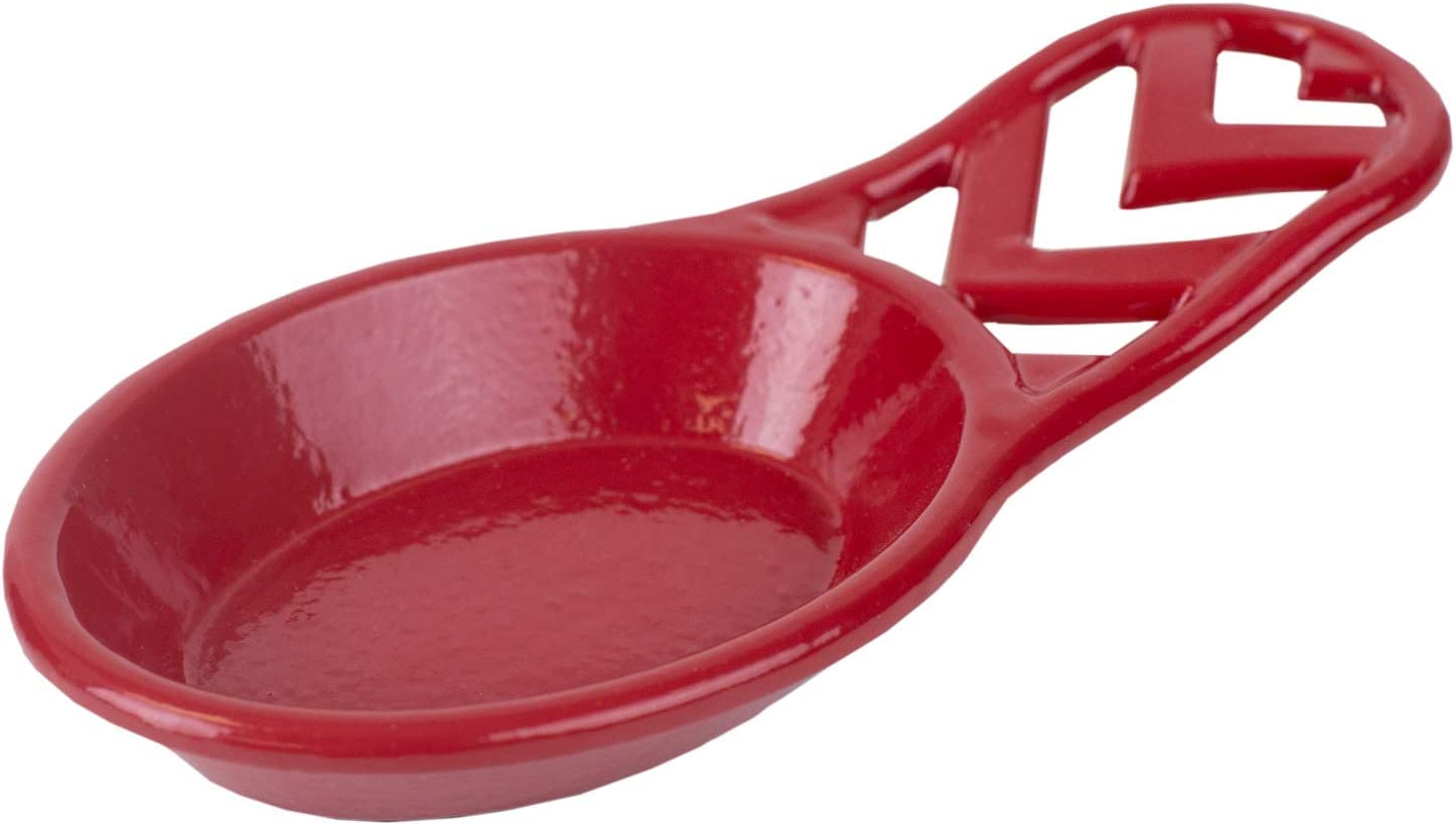 Home Basics Cast Iron Chevron Design Spoon Rest, 7.5x3.5x1.3 Inches (Red)