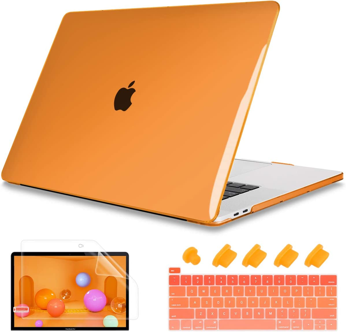 "May Chen MacBook Pro 13 Inch Case Model A2289/A2251 2020 Release,Plastic Hard Shell Case Cover wtih Keyboard Cover for MacBook Pro 13"" with Retina Display & Touch Bar Fits Touch ID,Orange"