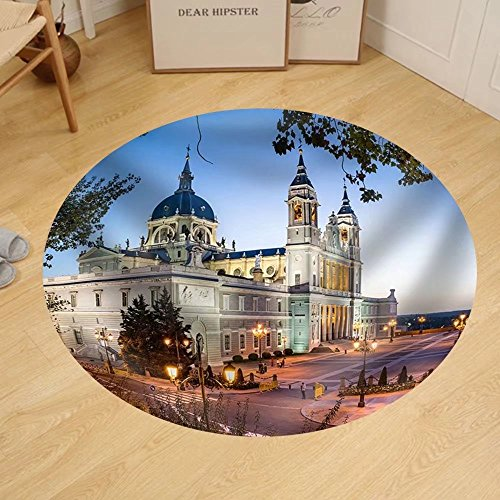 Gzhihine Custom round floor mat Madrid Spain at La Almudena Cathedral and the Royal Palace. by Gzhihine