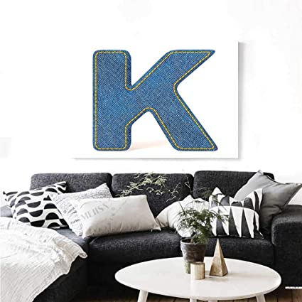 Amazon Com Letter K Wall Paintings Alphabet Font Denim