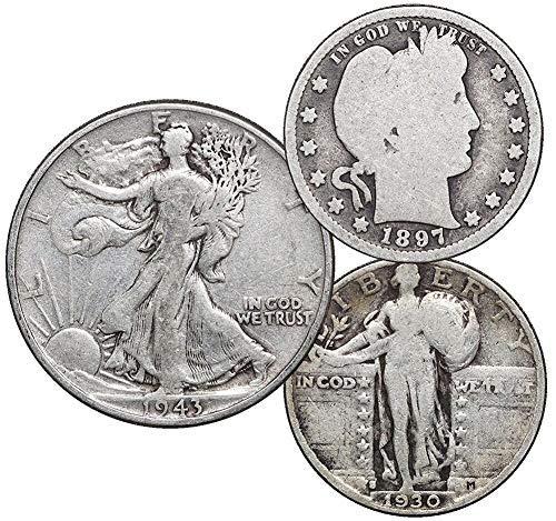 1892-1947 US Silver Coins Barber /& Standing Liberty Quarter $1 Face Walking Liberty Half Dollar
