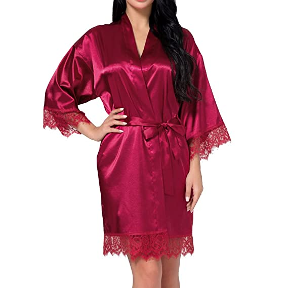 Zhien Sexy Vestido de Novia de Las Mujeres Corto Satén Novia Robe de Encaje de Seda Kimono Albornoz Dama de Honor Ropa de Dormir Vino Rojo L: Amazon.es: ...
