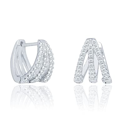 1163162343be5 Cate & Chloe Aliyah 18k White Gold Round Cut CZ Crystal Pave Huggie Hoop  Earrings, Unique Silver Crystal Small Hoops for Women, Pave Cluster Earring  ...