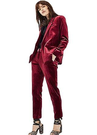 16c805b3aa1 Amazon.com: WZW 2019 Burgundy Velvet Ladies Office Uniform Pant Suits for Women  Business Suits 2 Piece Set Women Tuxedo Designs: Clothing