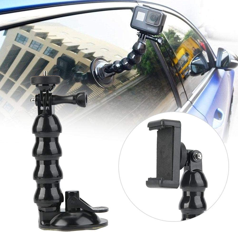 Suction Cup Camera Bracket,Portable Flexible Neck Bracket with Mobile Phone Clip for OSMO for Gopro for Xiao Yi for SJCAM Camera