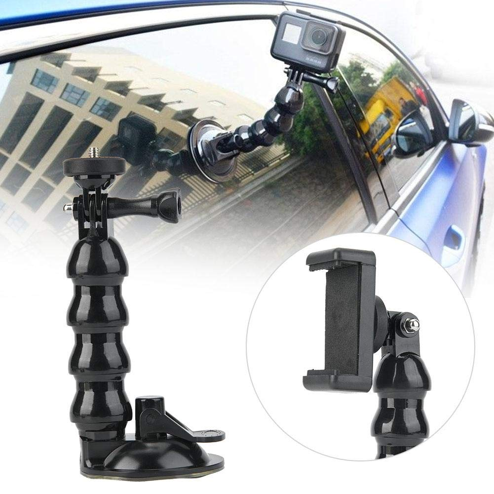 Oumij Car Windshield Window Camera Holder Stand ABS Suction Cup Camera Windscreen Mount Flexible Neck Bracket with Mobile Phone Clip for Gopro