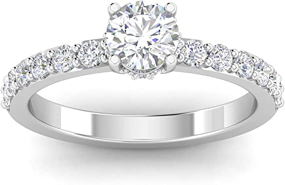 1.00ctw Diamond Solitaire Engagement Ring in 14k White Gold (1.00ctw