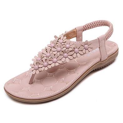 91369837fe0 SIKETU Women Summer Bohemia Flower Beaded PU Sandals