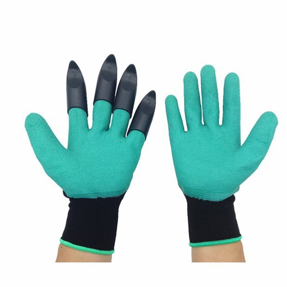 Meanch Garden Gloves with Fingertips Sturdy Claws on Left Hand for Digging