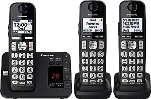 Panasonic KX-TGE433B Cordless Phone with Answering System - 3 Handsets