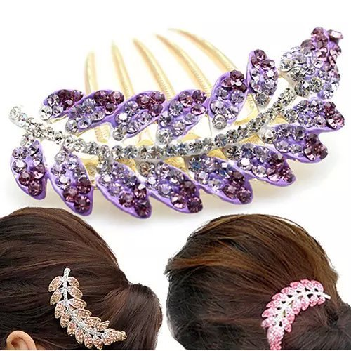 Popfeel Women Diamante Olive Leaf Crystal Rhinestone Flower Hair Clip Hairpin Bobbypin