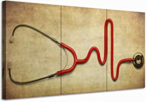 Nachic Wall 3 Piece Canvas Wall Art Stethoscope on Vintage Background Painting Art Prints Health Care Concept Picture Artwork Science Doctor Office Wall Decoration Medical Student Surgeon Gift