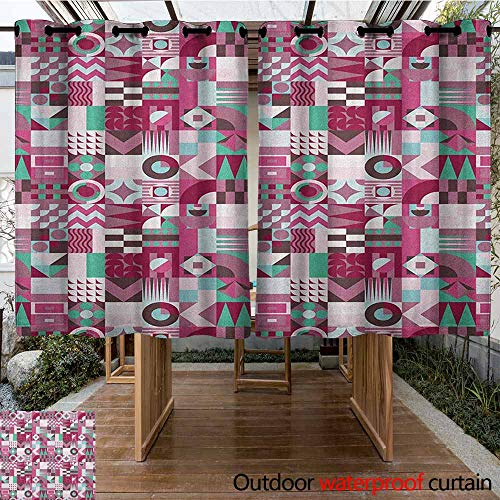 AndyTours Outdoor Blackout Curtain,Mid Century,Rich Collection of Motifs from Fifties Groovy Unusual Forms Checkered Design,for Patio/Front Porch,K183C115 Multicolor