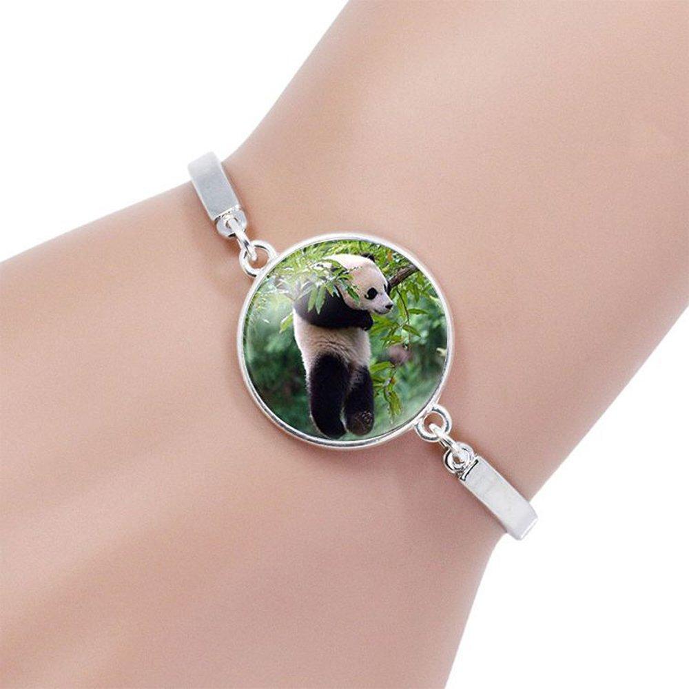 Caimeytie Parure Femme Collier Bracelet Panda Verre