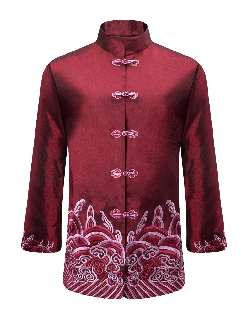 MOSONNYTEE Chinese Traditional Style Dragon Pattern Tang Jacket (XL, Red/ women) by mosonnytee