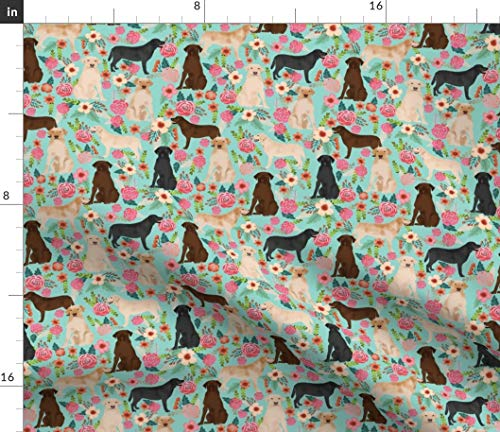 Spoonflower Labrador Fabric - Labrador Labradors Yellow Lab Chocolate Lab Dog Dog Breed Black Lab Pet Portrait Gift by Petfriendly Printed on Modern Jersey Fabric by The Yard