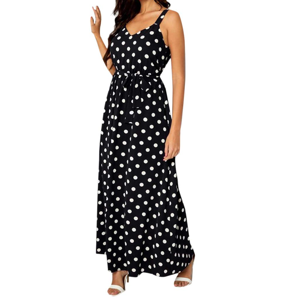 Xavigio_Women Dresses Women's Halter Neck Boho Dot Print Sleeveless Elastic Waist Casual Long Maxi Sundress Black