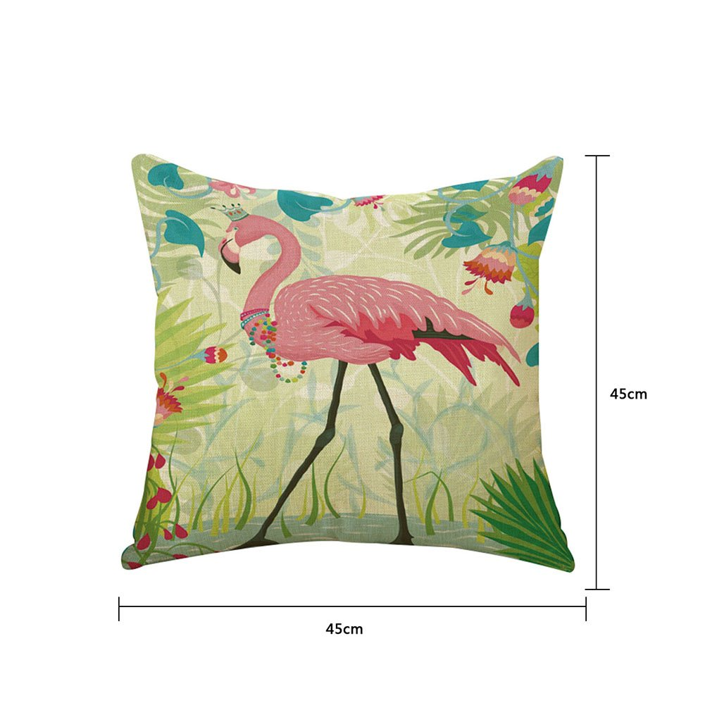 Monbedos Cushion Covers Flamingos Pillow Case Linen Pillowcase for Bedroom Living Room Office Car,Size 45x45cm Flamingos 2
