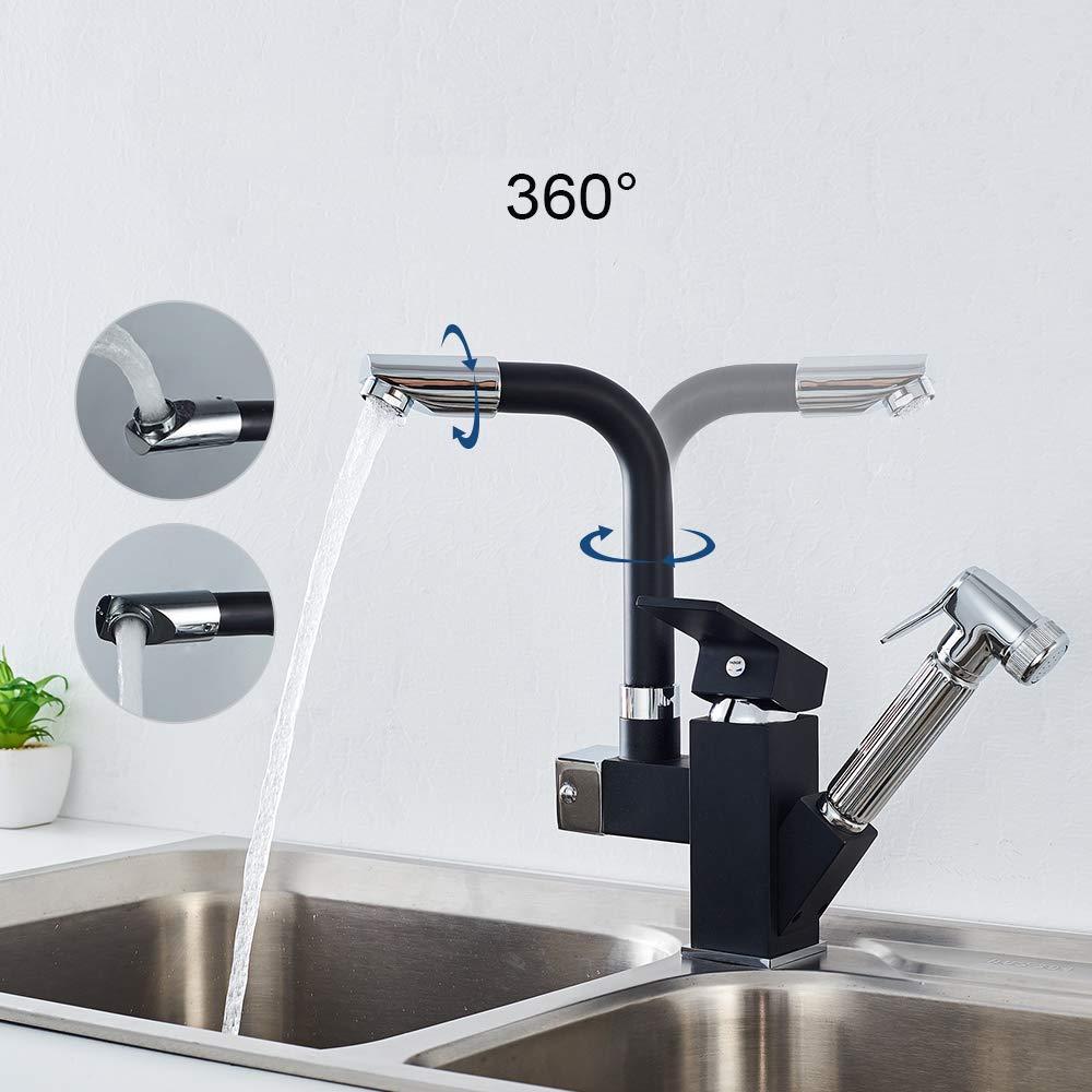 Grifo Negro Extensible para Cocina en Lat/ón Dos Salidas del Agua 360 Giratorio Funcional Mezclador Auralum
