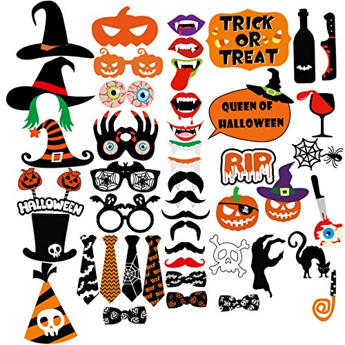 LUOEM 47pcs Halloween Photo Booth Props Creative Halloween Pose DIY Selfie Props for Happy Halloween Party Decorations Supply]()