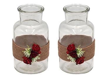 Zauberdeko 2 Vasen Hochzeit Vintage Tischdeko Deko Glaser Rot Rosen