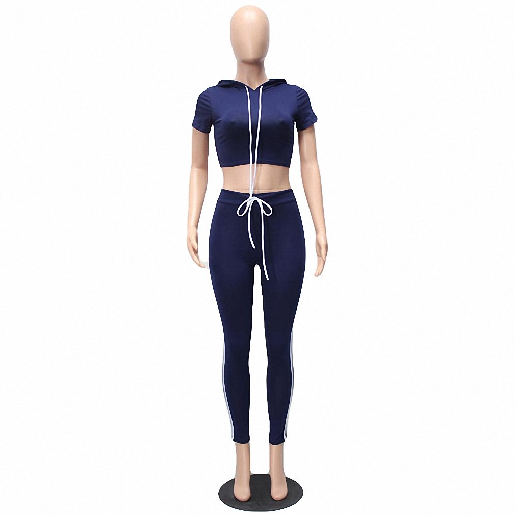 Dark bluee New New Style Women Bodycon Cotton Jumpsuit Summer Long Solid Hooded Short Sleeve Two Piece Rompers Sexy Jumpsuits