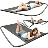AMANKA Rocking Sun XXL Lounger | Garden Swing Bed | Modern Recliner daybed with Pillow | Sturdy metal Frame with quality Fabric | Indoor & Outdoor | Grey