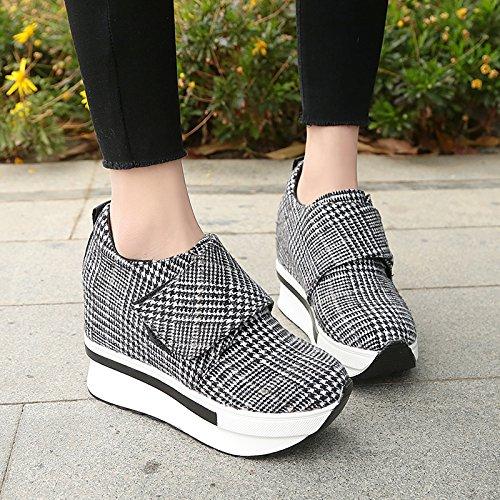 GAOLIM Zapatos De Mujer Control Grid Magic-Una Zapatilla De Corte Bajo Gruesas Bizcocho Con El Aumento En La Primavera Zapatos. Blanco y negro