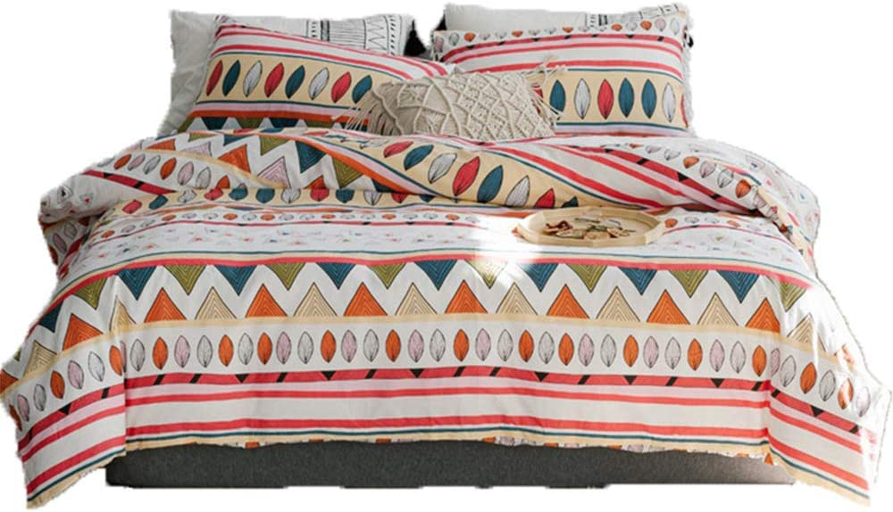 Cobahom Duvet Cover Set Bohemian Paisley Indian Style Feather Triangle Streak Simple Bedding Sets Full Size