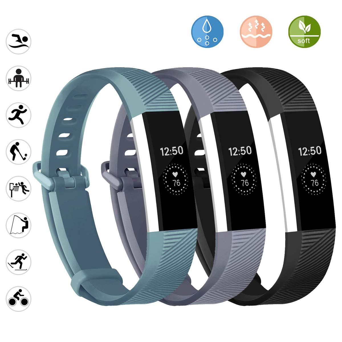Alta HR and Ace JOMOQ Replacement Bands Compatible for Fitbit Alta Soft Customised Waterproof Adjustable Sport Rubber Smartwatch Strap Wristbands Small Large Women Men.