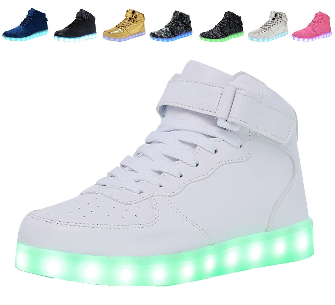 DEMANGO Led Light Up Shoes for Mens Womens High Top Flashing Rechargeable Sneakers ,size 36, White5