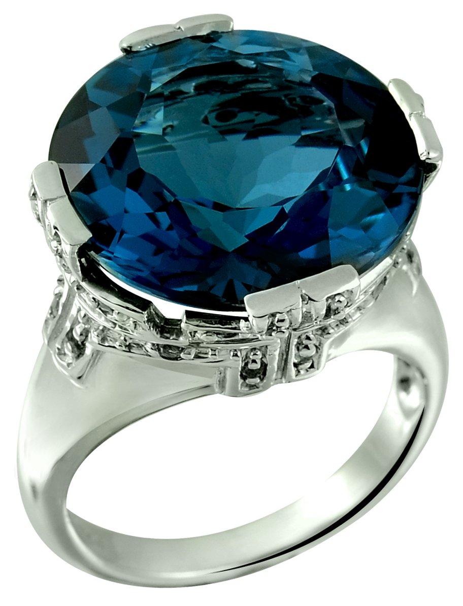 22.78 Carats Fine Grade London Blue Topaz Statement Sterling Silver Ring (7)