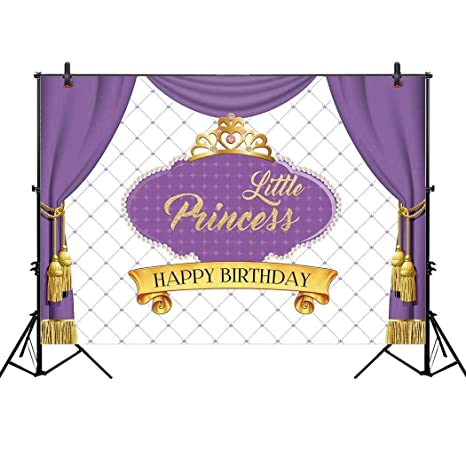 Allenjoy 7x5ft Royal Purple First Princess Backdrop For Gold Crown Curtain Girls Baby Shower Celebration Party
