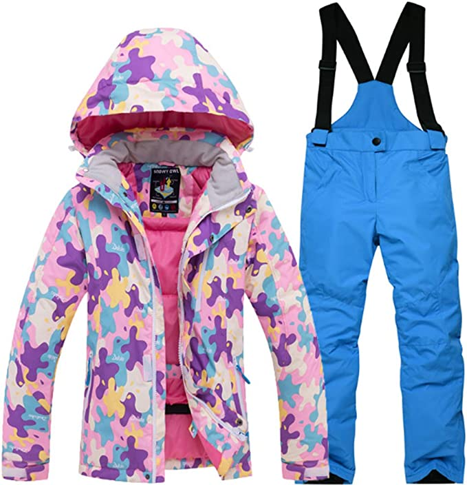 Winter Outdoor Warm One Piece for Boys Girls Janjunsi Kids Ski Suit Snowsuit Waterproof Windproof Wear Resistant Adorable