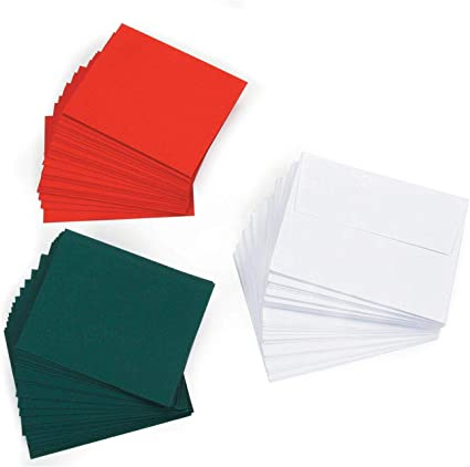 "5x7/"" Pack of 10 x Red or Green Blank Cards and Envelopes Handmade Christmas"