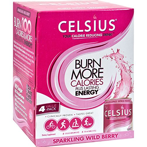 Celsius Sparkling Wild Berry - 12 fl oz Each / Pack of 4 (Pack of 4)