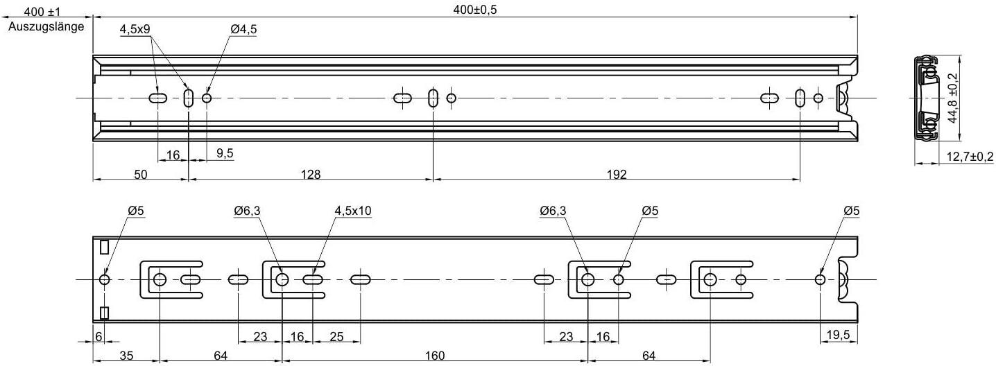 cerrado 4 pares 8 piezas SO-TECH/® Gu/ía para Caj/ón de Extracci/ón total Carril de Caj/ón Negro 500 mm Rodamiento de Bolas Capacidad de carga 45 kg