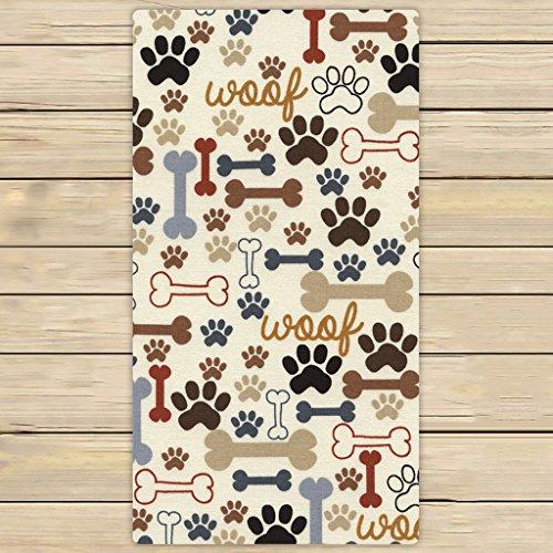 Spa Bone - Custom Dog Paws and Bones Hand Towel,Spa Towel,Beach Bath Towels,Bathroom Body Shower Towel Bath Wrap Size 30x56 inches