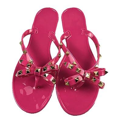67d43f093b36 Women Studs Flat Flip-Flops Beach Rain Waterproof Thong Jelly Shoes Red   Amazon.co.uk  Shoes   Bags