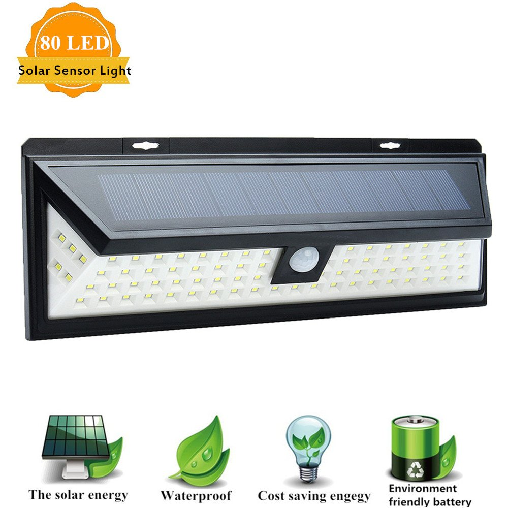Solar Lights Outdoor, SOLMORE 80 LED Motion Sensor Solar Lights with Wide Lighting Area, IP65 Waterproof Security Lights Solar Wall Light for Garage, Front Door,Yard,Garden,Patio,Driveway,Pathway by SOLMORE
