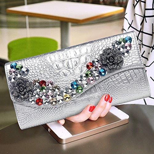 à à percer main Blanc mode sac à soirée sac de sac à diamant Couleur en Sac capacité sac à main la en Silver diamant grande au cuir x4qvwnYX