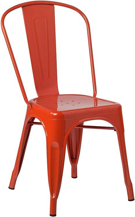 Image ofSKLUM Pack 4 Sillas LIX Naranja Estilo Industrial Acabado Brillante