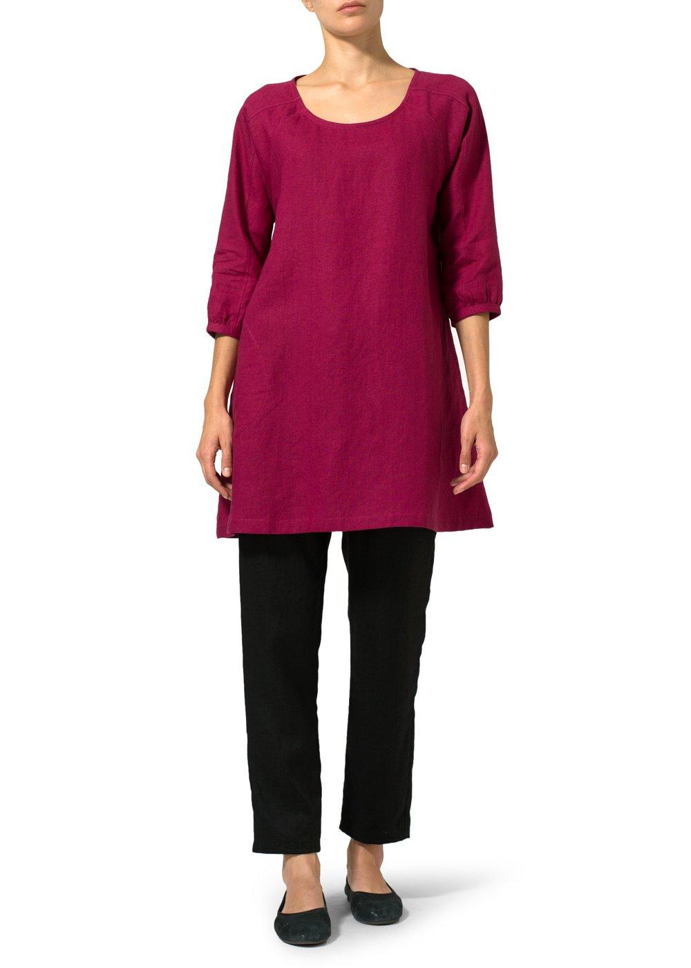 Vivid Linen Elbow Sleeve Tunic-4X-Claret Violet