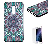 Funyye Relief Rubber Case for Xiaomi Pocophone F1,Stylish Mandala Pattern Soft Silicone TPU Gel Cover for Xiaomi Pocophone F1,Slim Fit Shockproof Non Slip Back Cover Smart Shell Protective Case for Xiaomi Pocophone F1 + 1 x Free Screen Protector