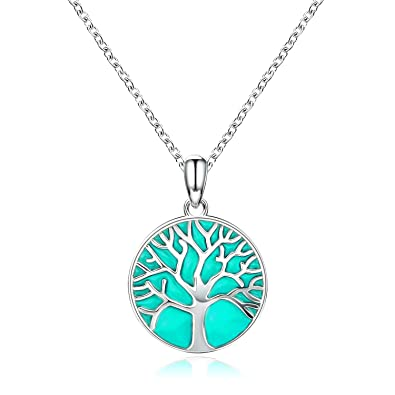 111497f6a9 Apotie Tree Necklace - Sterling Silver Luminous Glow in The Dark Tree of  Life Pendant