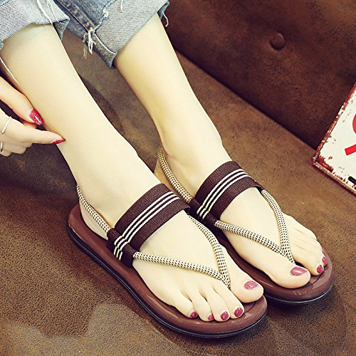 YMFIE Elegante Simple aplastamiento Transpirable Remolque Toe Sandalias Piscina de Verano Damas Calzado Antideslizante Inferior Grueso Playa Cool Zapatillas b